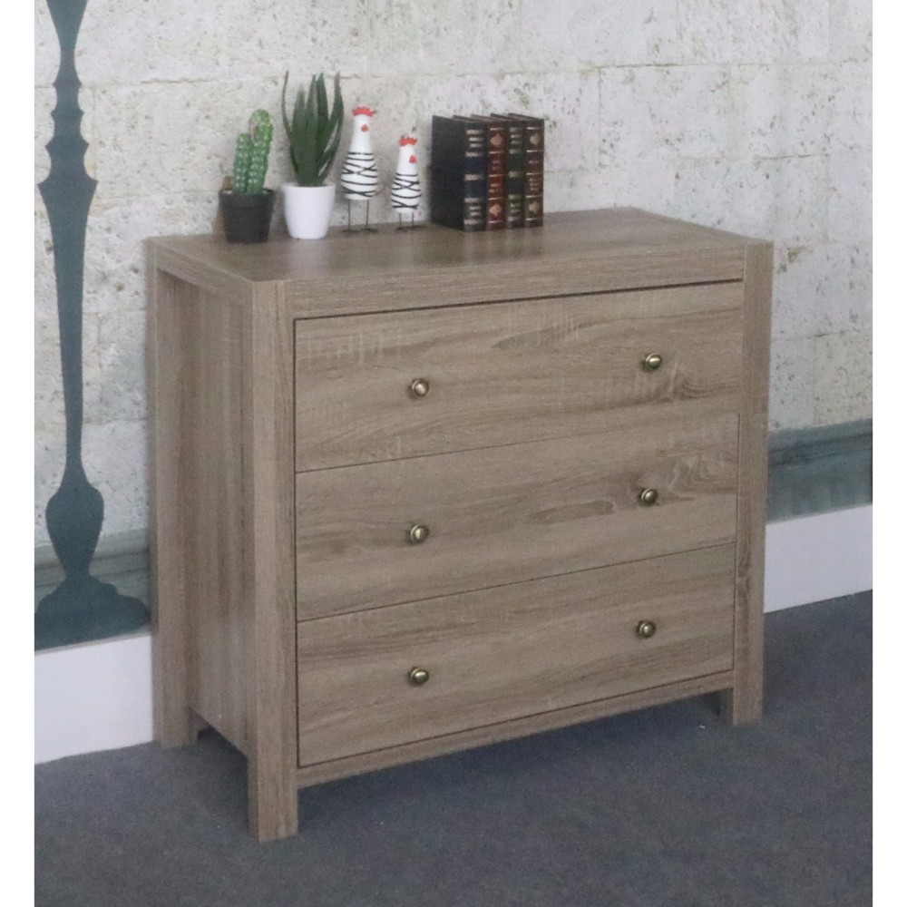 Capacious 3 Drawer Storage Chest With Brass Knob, Brown Finish.
