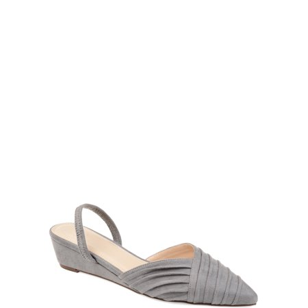Womens Pointed Toe Sling-back Sliver Wedge