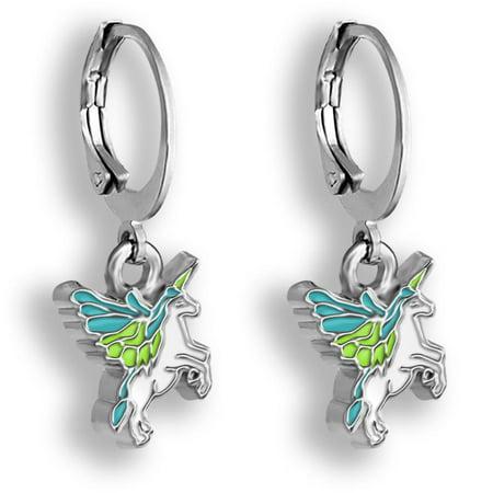 Blue Pegasus Unicorn Jewelry Hoop Earrings For Girls | Flying Unicorn Earrings For Girls | Little Girls Earrings For Toddlers And Teens | Huggie Hoop Earrings For Little Girls Dangle - Pegasus Earrings