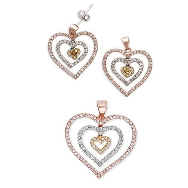 CZ Ear1093-Tri Color-Set Rose, Gold, And Rhodium Triple Heart Dangling Pendant and Earrings Set
