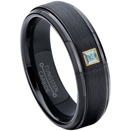 0.05ctw Princess Cut Aquamarine Tungsten Ring - 6MM Brushed Black IP Stepped Edge Tungsten Carbide Wedding Band - March Birthstone Ring - 14kt Yellow Gold Bezel - TN085PSG-1AQMs9