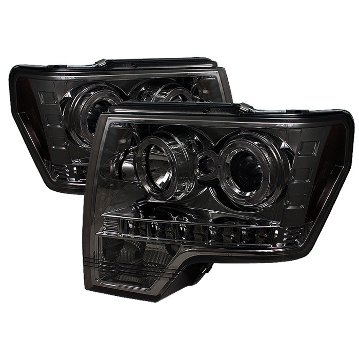 Spyder Ford F150 09-14 Projector Headlights - Halogen Model Only ( Not Compatible With Xenon/HID Model ) - LED Halo - LED ( Replaceable LEDs ) - Smok