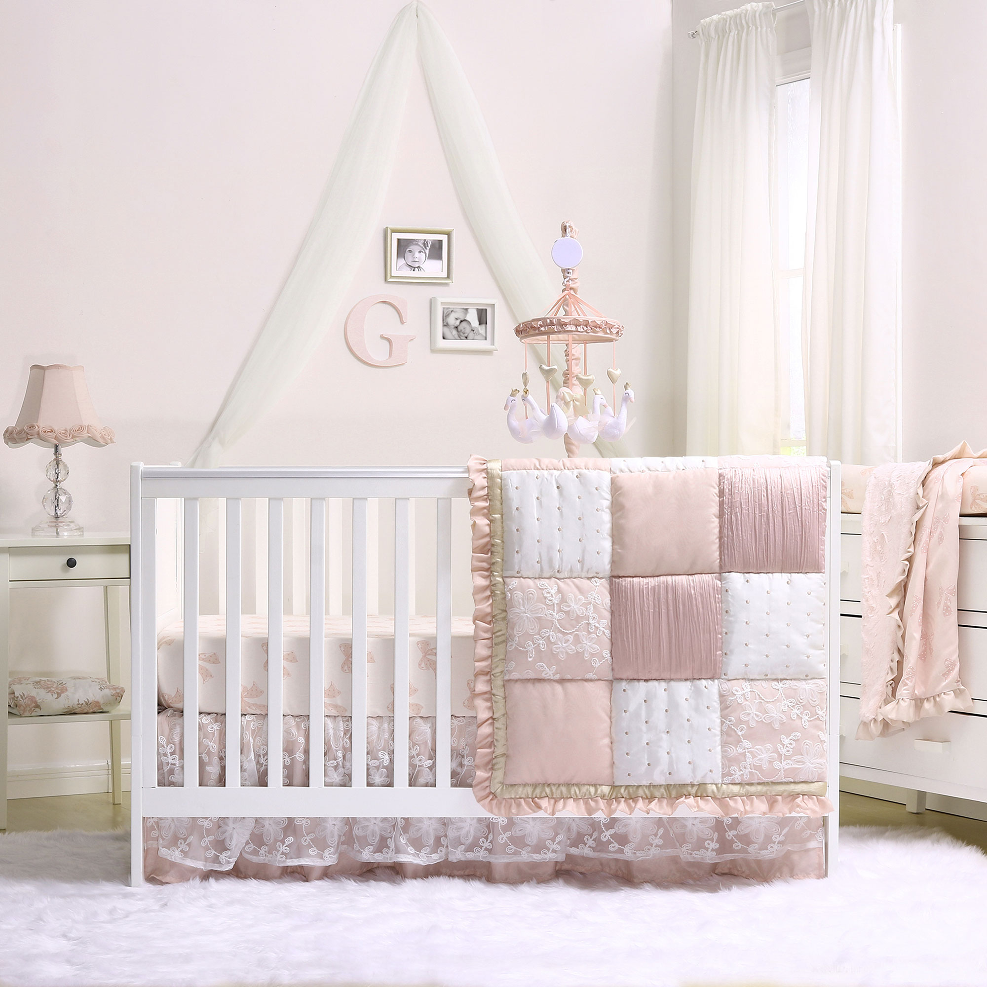 Baby Girl Crib Bedding - Dusty Pink Patchwork Design - Grace 7 Piece Set by The Peanut Shell
