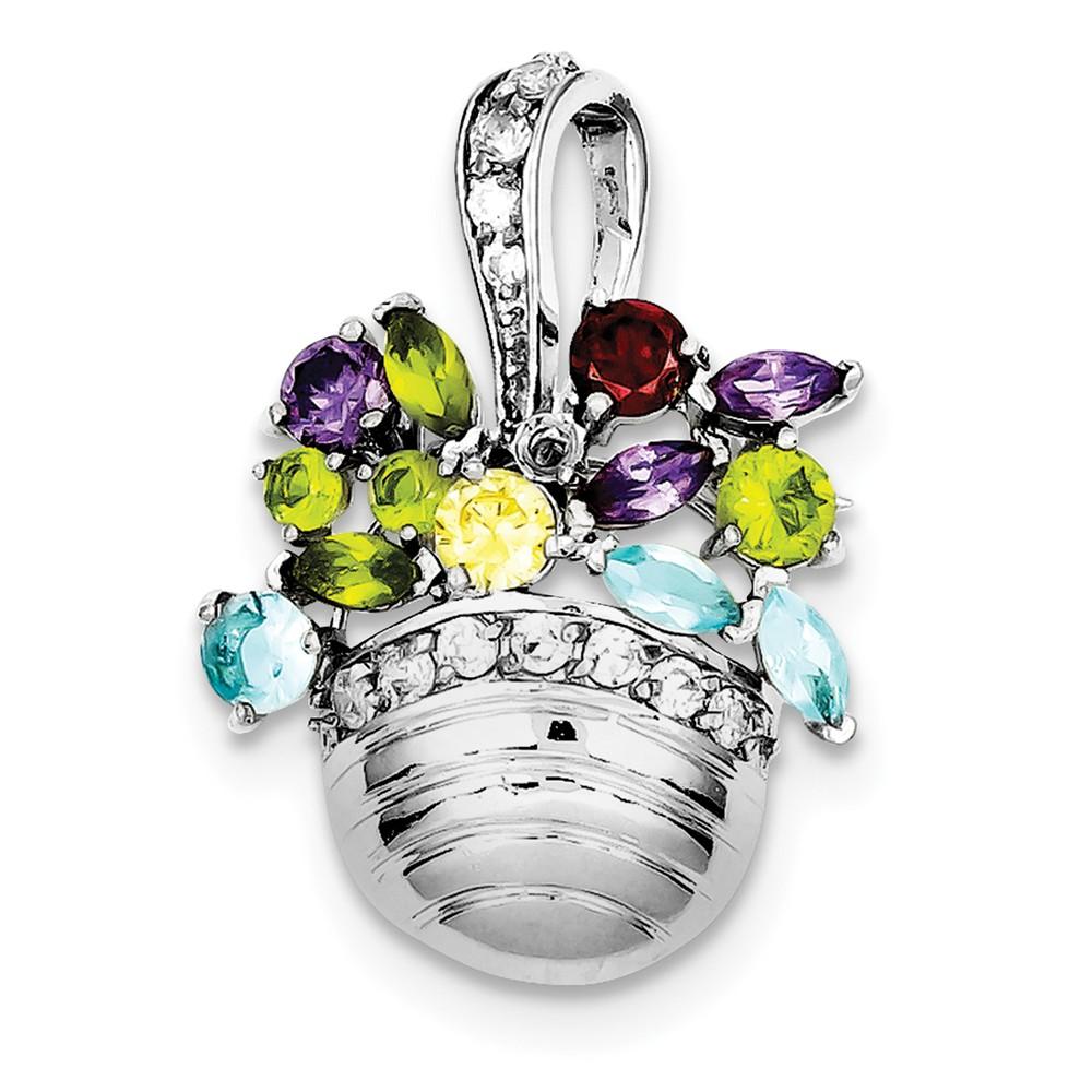 Sterling Silver Multi-color Gemstone Basket Pendant/ Pin (24mm x 32mm)