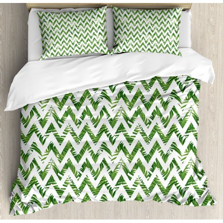 Palm Leaf Queen Size Duvet Cover Set, Chevron Motif Zigzag Lines with Green Palm Leaves Modern Artistic Summer Theme, Decorative 3 Piece Bedding Set with 2 Pillow Shams, Green White, by Ambesonne (Queen Padme)