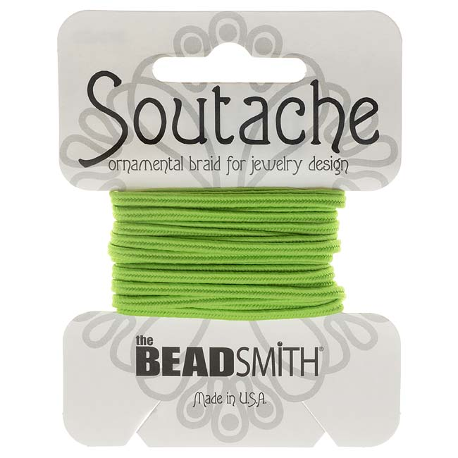 BeadSmith Soutache Braided Cord 3mm Wide - Limelight Green (3 Yards)