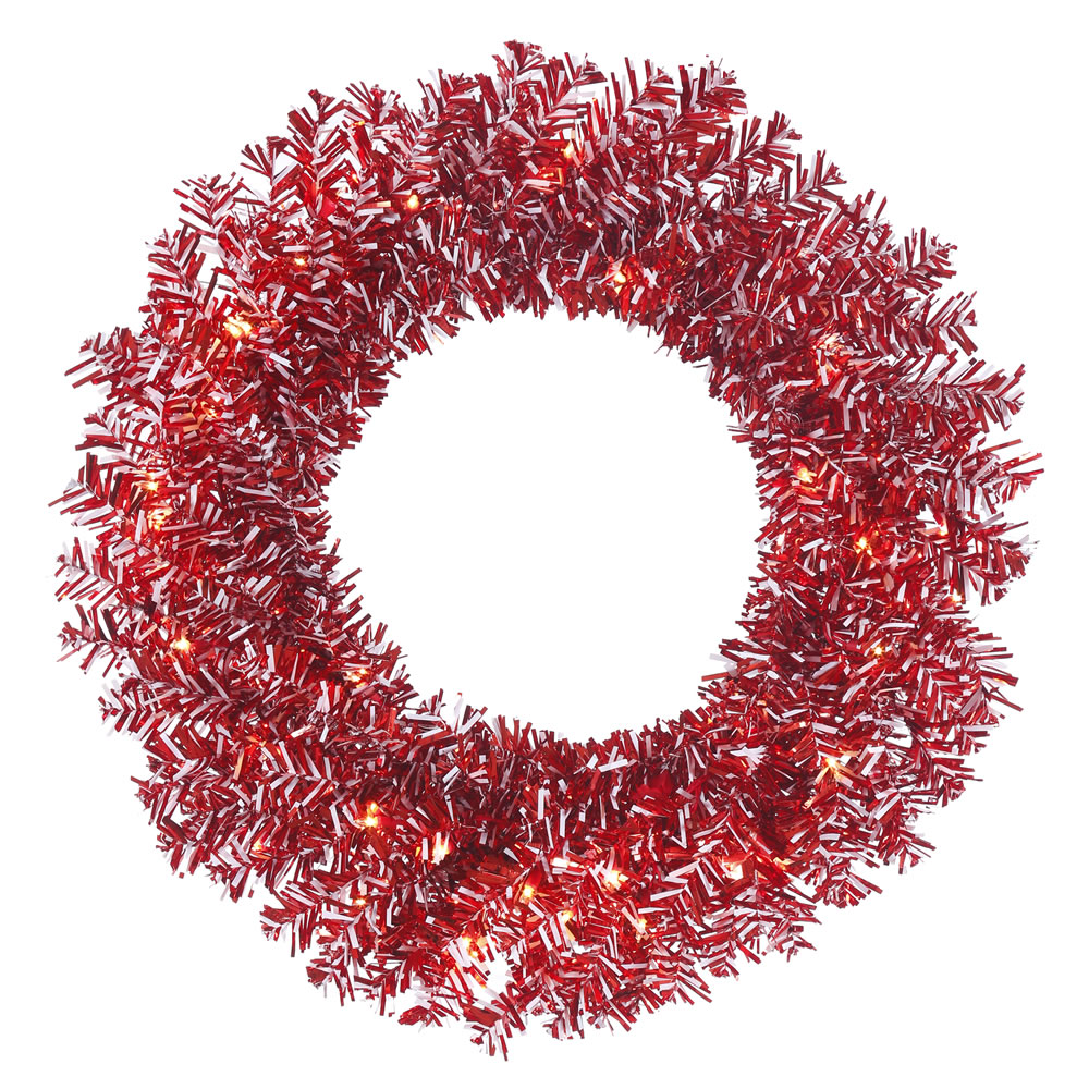 24in. Red-White Candy Cane Wreath 35 Clear Lights 130 Tips