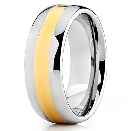 - Tungsten Wedding Band 18K Yellow Gold Tungsten Ring Polished Silver Tungsten Carbide Dome 8mm Comfort Fit Men Women