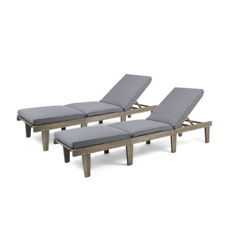 Alisa Outdoor Acacia Wood Chaise Lounge with Cushions, Set of 2, Grey and Dark Grey ()
