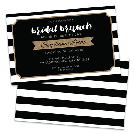 Personalized Black and White Stripes Bridal Luncheon Invitations (Black And White Party Invitations)