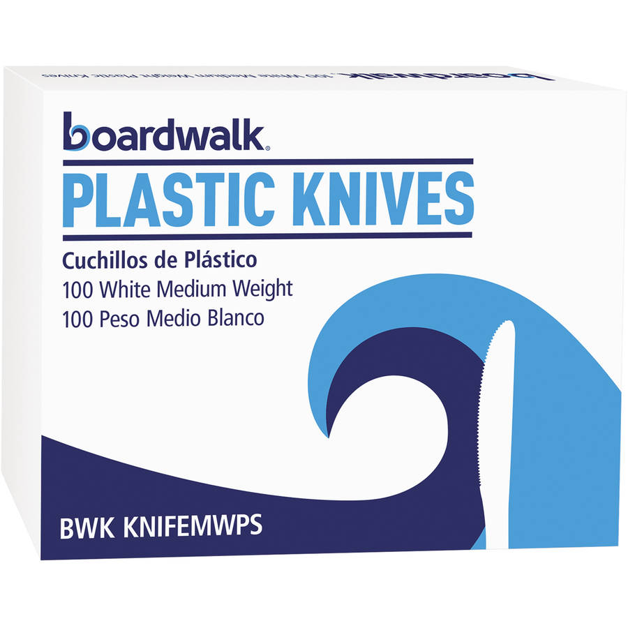 Boardwalk Medium Heavyweight White Plastic Knives 1,000 total (10 Boxes of 100/Ctn)
