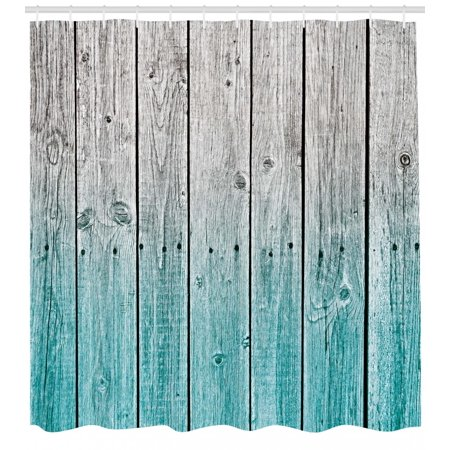 Rustic Shower Curtain Wood Panels Background With Digital Tones Effect Country House Art Image Fabric Bathroom Set Hooks Pale Blue And Grey