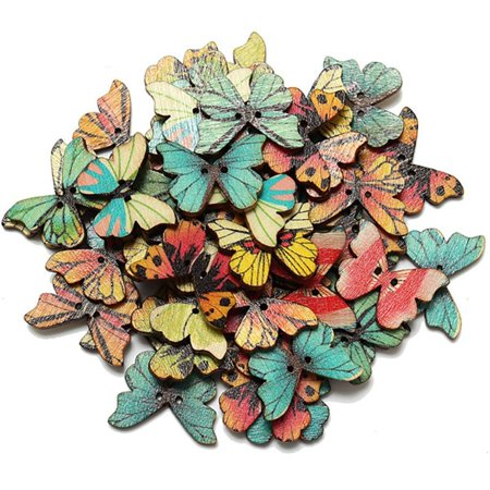 Holiday Clearance 50pcs 2 Holes Mixed Butterfly Wooden Button Sewing Scrapbooking DIY -
