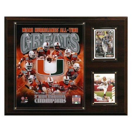 NCAA Football 12 x 15 in. Miami Hurricanes All-Time Greats Photo Plaque - Costumes In Miami