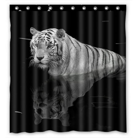 PHFZK Animal Shower Curtain, Black And White Tiger Standing in Water Polyester Fabric Bathroom Shower Curtain 66x72 inches Tigers Jersey Shower Curtain