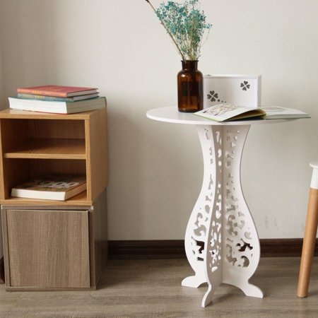 Ktaxon Modern Round Coffee Side End Table Living Room Furniture White ()