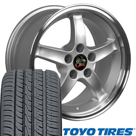17x9/17x10.5 Fits Ford® Mustang® Wheels & Tires - Cobra R Style Silver Rim With Toyo Tires - SET Cobra R Wheel