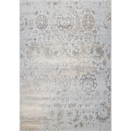 Ladole Rugs Cherine Soft and Comfortable Modern Style Area Rug Carpet in Grey-Cream, 3x5 (2'7