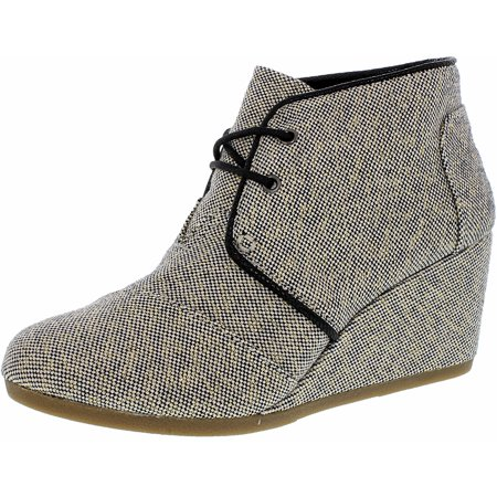 06f16f9c798 TOMS - Toms Women s Desert Wedge Linen Black Gold Metallic Linen Ankle-High Suede  Boot - 6.5M - Walmart.com