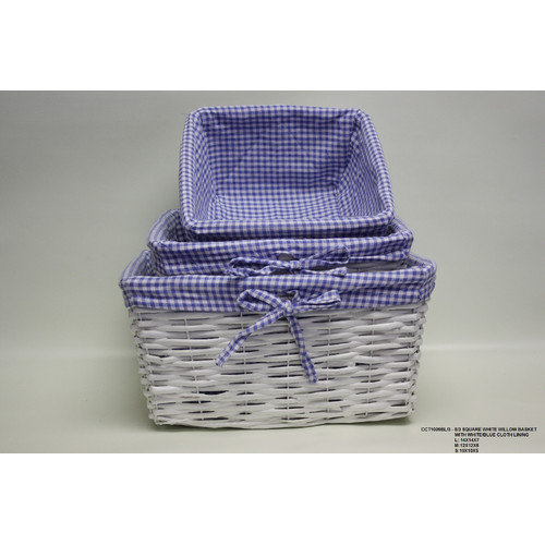 Desti Design 3 Piece Square Willow Basket with Cloth Lining Set