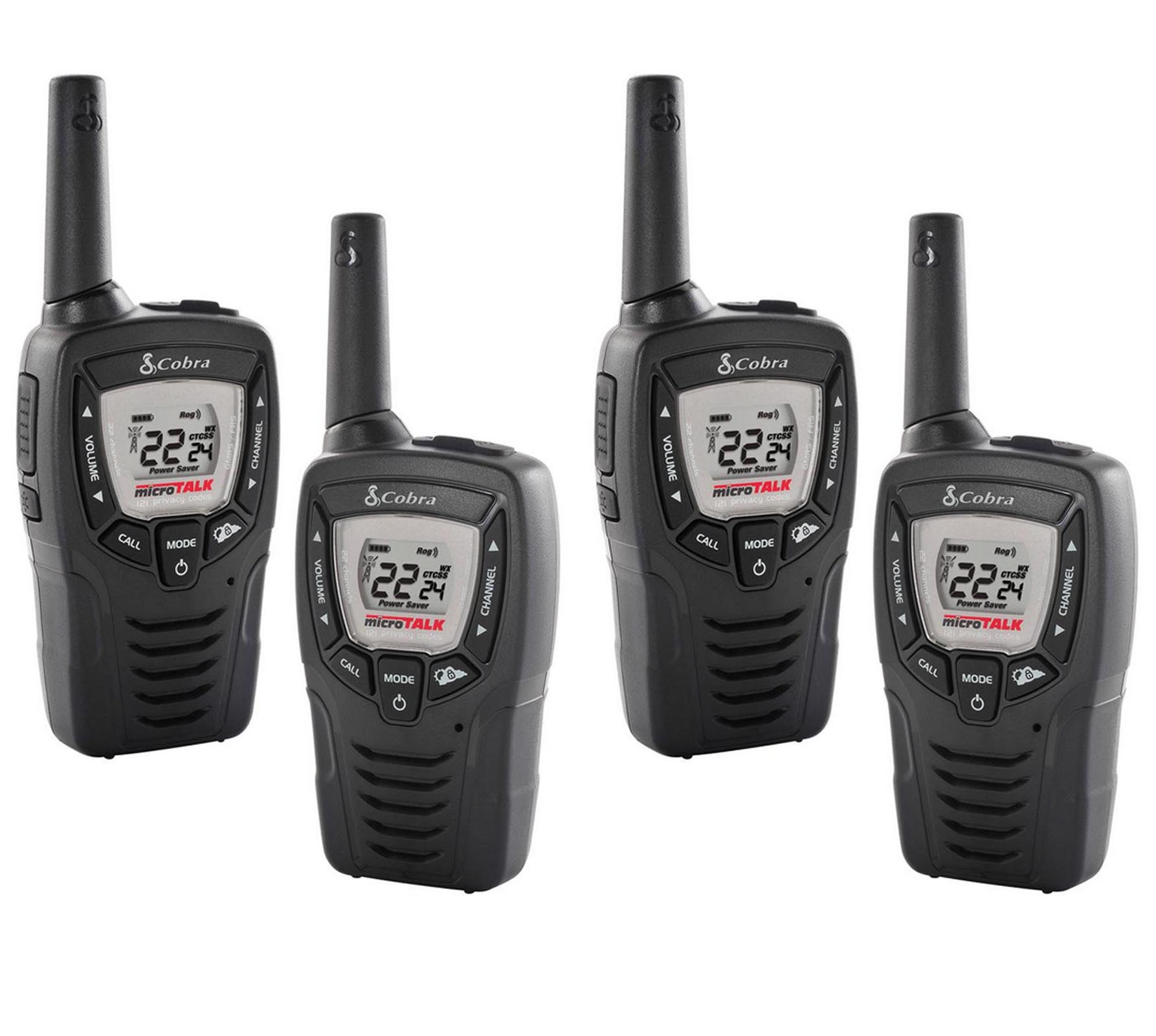 (4) COBRA CX312 23 Mile 22 Channel FRS GMRS Walkie Talkie 2-Way Radios w  VOX by Cobra