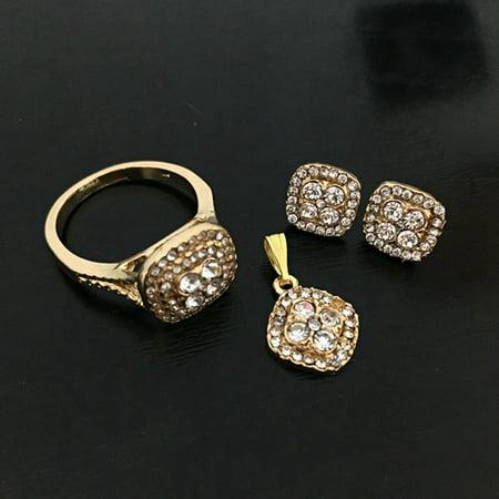 Raypadula New 4Pcs\/Set Exquisite Wedding Gift Set Classic Ladies 18K Gold Diamond Wedding Jewelry Set Earrings Necklace Pendant Ring Bride Engagement Gift Gold Long Diamond Set