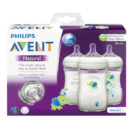 Philips Avent Bpa Free Natural Boy Safari Baby Bottles  9 Ounce  3 Pack