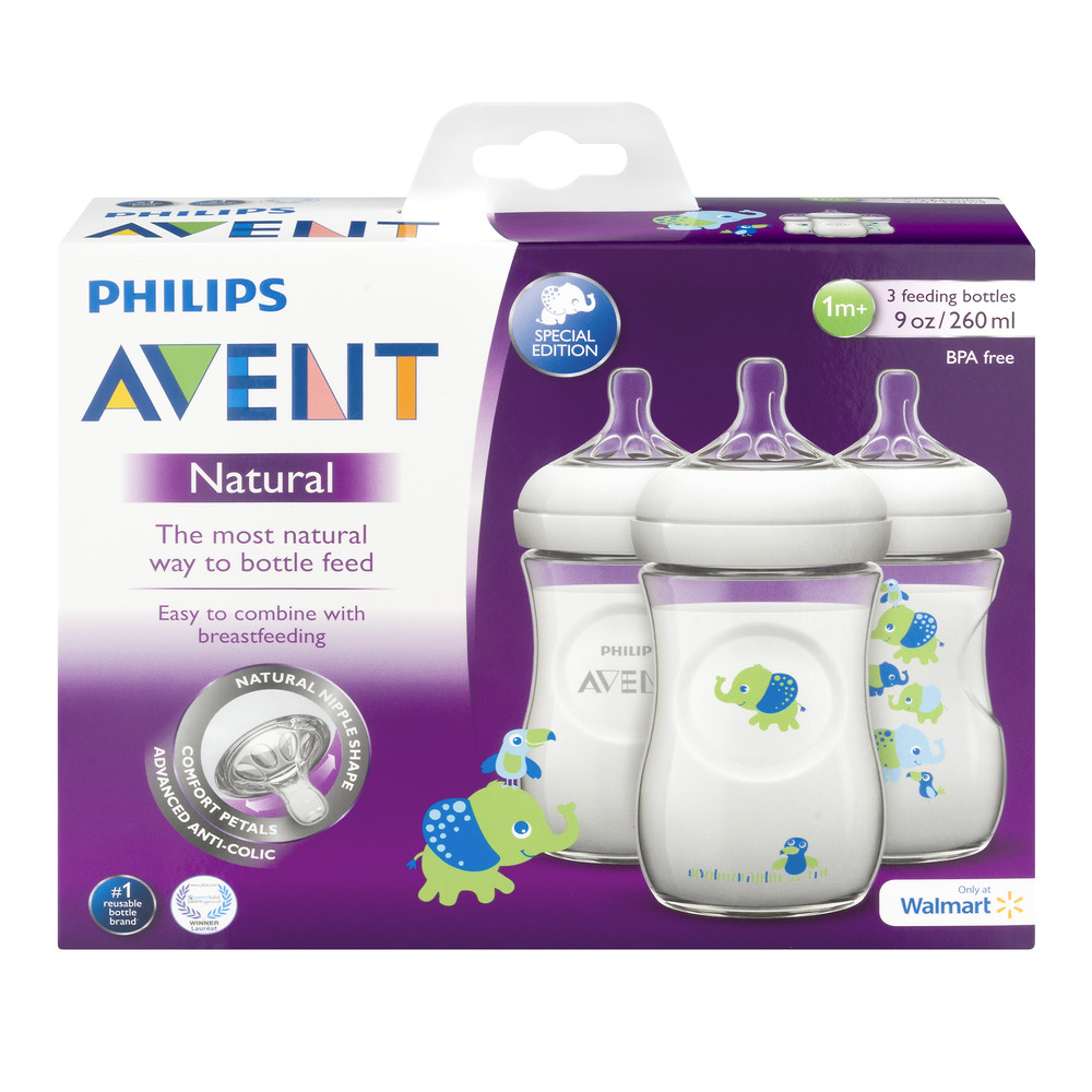 Philips Avent Natural Feeding Bottles 1m+ - 3 CT