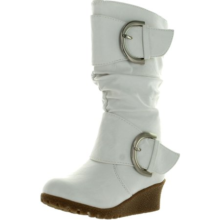 Lucky Top Girls Pure-65K Kids Fashion Slouch Buckles Mid-Calf Zipper Wedge Heel Boots ()