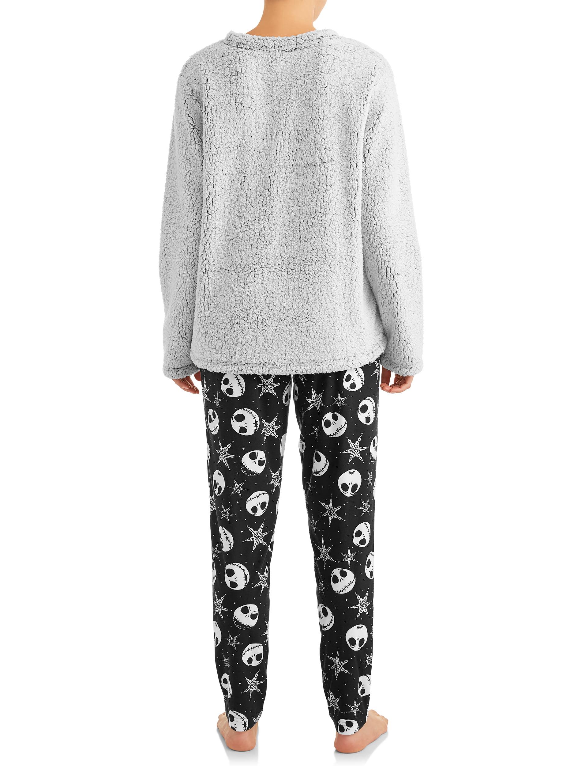 Ladies Pale Grey Furry Panda Eyes Soft Fleece Lounge Pyjamas In Sizes 8-18