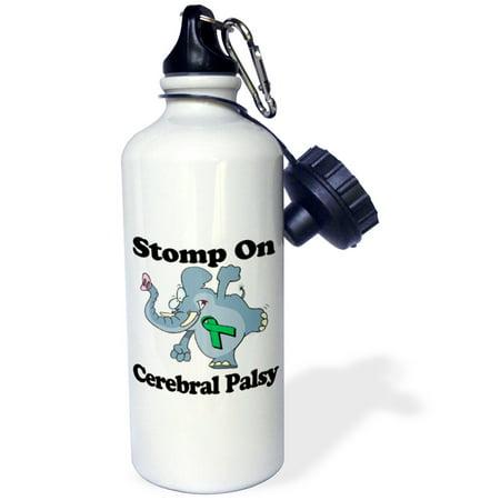 Cerebral Palsy Ribbon (3dRose Elephant Stomp On Cerebral Palsy Awareness Ribbon Cause Design, Sports Water Bottle,)