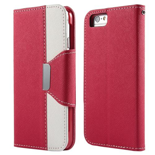 ULAK Dual Color Wallet Case with Card Slots for Apple iPhone 6S 6 4.7 Inch(Red/White)