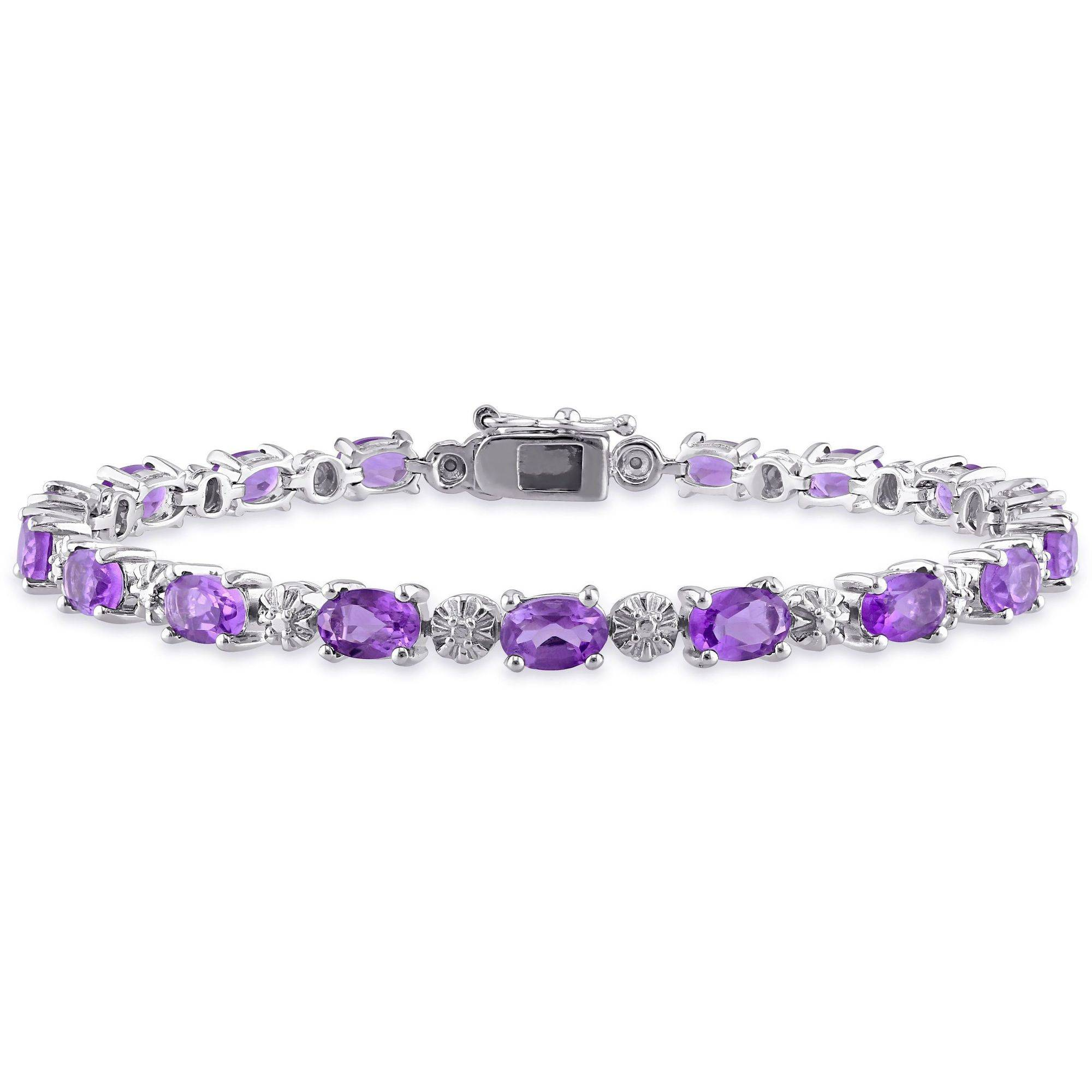 "Tangelo 7-1 5 Carat T.G.W. Amethyst and Diamond-Accent Sterling Silver Tennis Bracelet, 7"" by Tangelo"