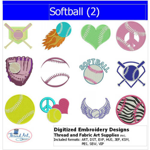 Threadart Machine Embroidery Designs Softball(2) CD