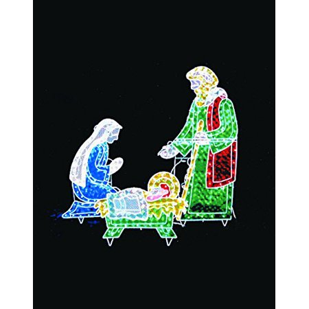 Let it Snow Collection Indoor / Outdoor Lighted Decorations - 5 Ft. Long Christmas 3pc Lighted Holographic Nativity - 175 Lights