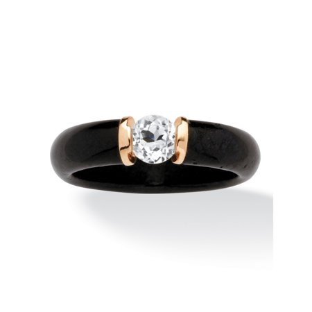 10k Jade Ring (.56 TCW Black Jade and White Topaz Ring in 10k Gold)