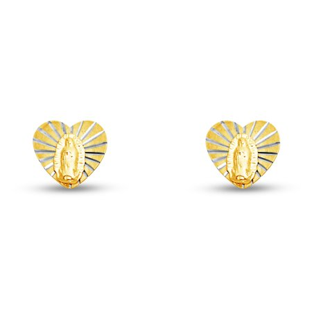 14K Yellow Gold Heart Our Lady Of Guadalupe Virgin Mary Stud Earrings With Screw Back