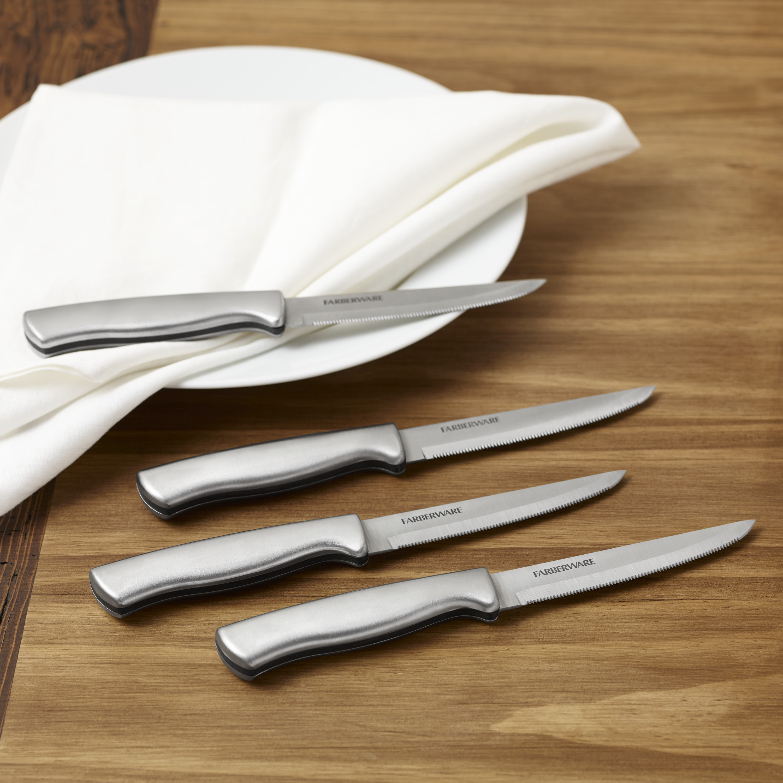 Farberware Stamped Stainless Steel 4-Piece Steak Knife Set