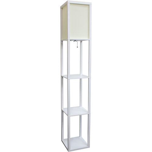 Simple Designs Floor Lamp Etagere Organizer Storage Shelf with Linen Shade by All the Rages Inc