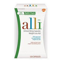 alli Weight Loss Aid Orlistat Capsules, 60 Mg,120 Ct, 6 Pk