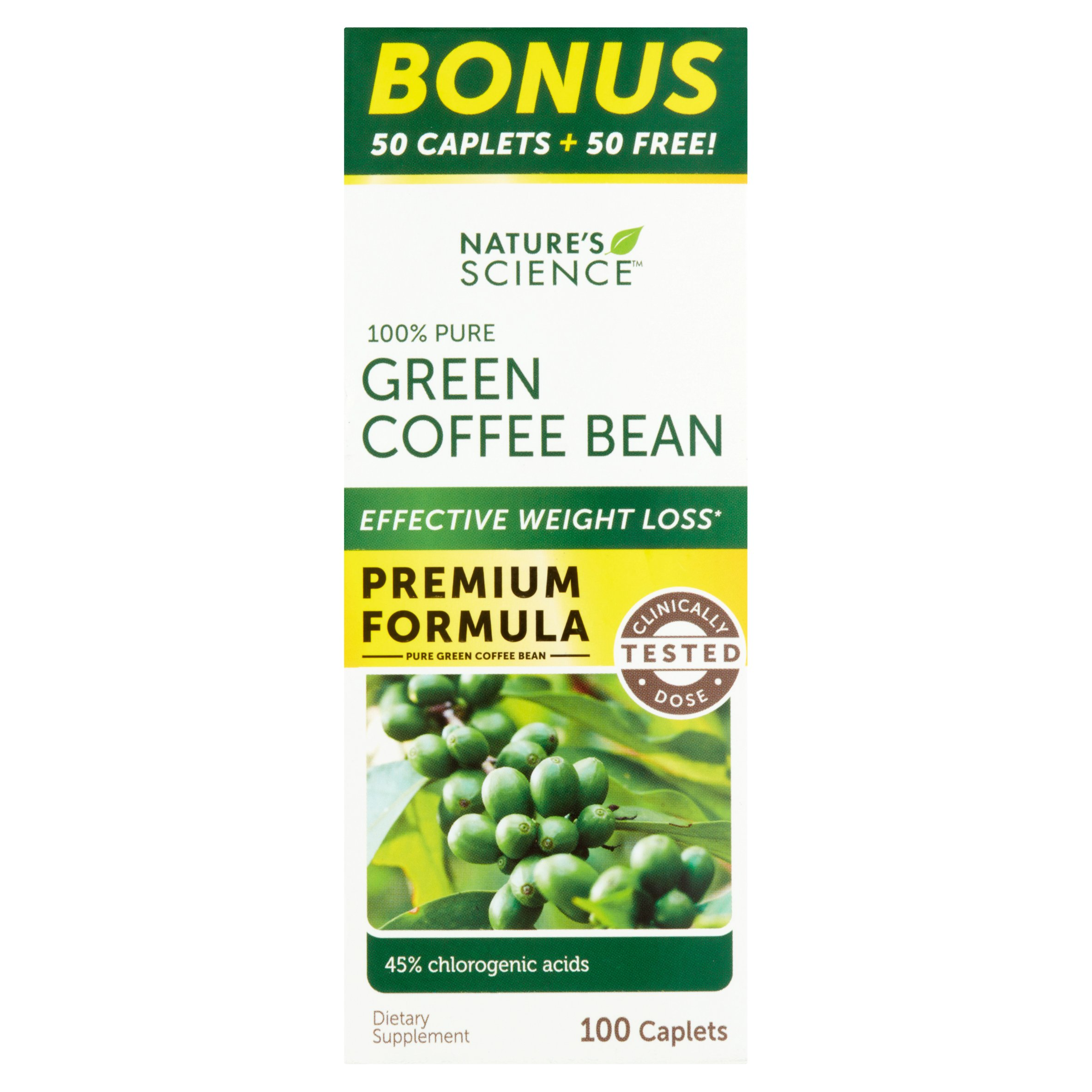 Nature's Science Green Coffee Bean Dietary Supplement, 100 count