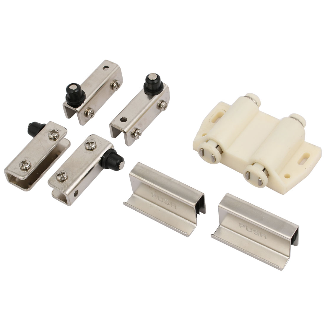 Cabinet Glass Door Double Magnetic Head Catch Latch White W Clamps