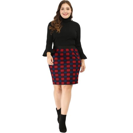 Women Plus Size Elastic Waistband Plaids Pencil Skirt Red - Red Pencil Skirt