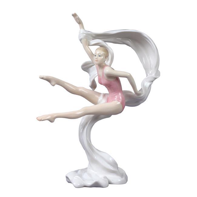 Unicorn Studios BP00554AA Porcelain Figure Gymnast in Pink Tumbling with Sash