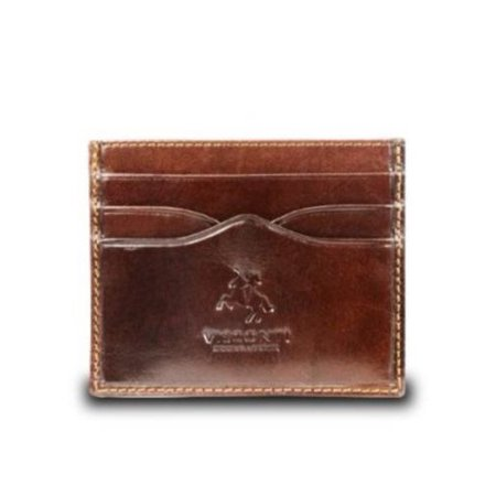 Visconti Monza1 Pocket Card Holder in Italian Brown Leather [Apparel] Brown Leather Pocket
