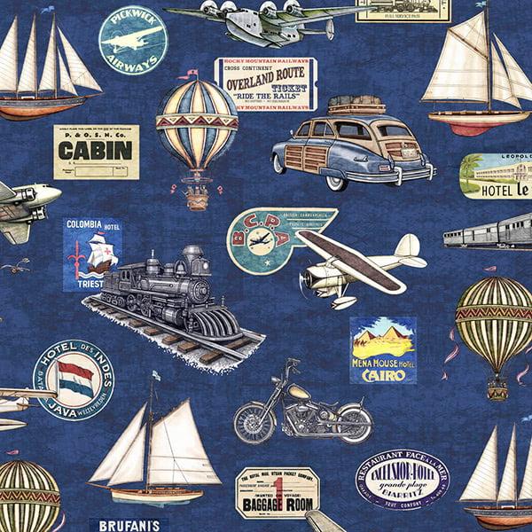 Quilting Treasures Dan Morris Wanderlust Trains,Planes,& Automobiles