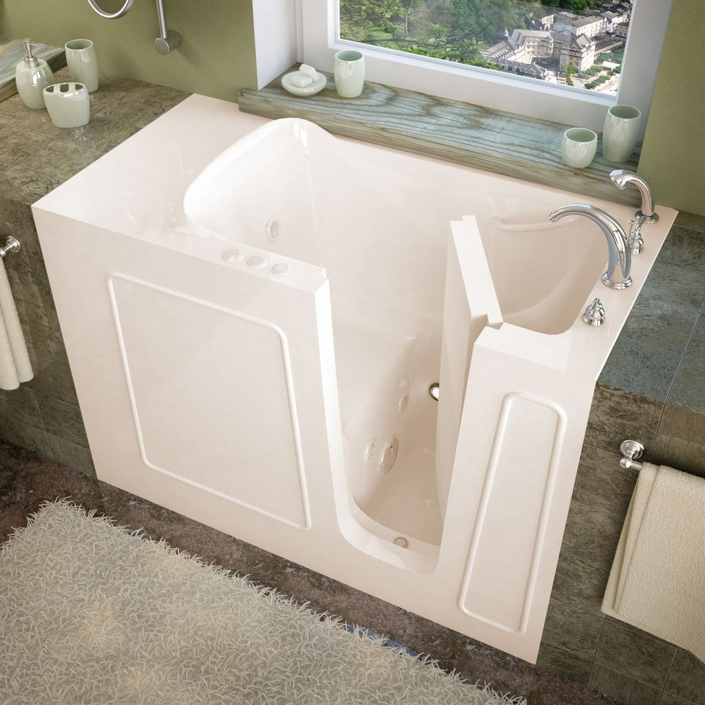 Meditub 26x53 Right Drain Biscuit Whirlpool jetted Walk-In Bathtub