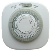 Westek TM1609DHB Heavy Duty Grounded Daily Mechanical Timer, Duel Grounded Outlet, White