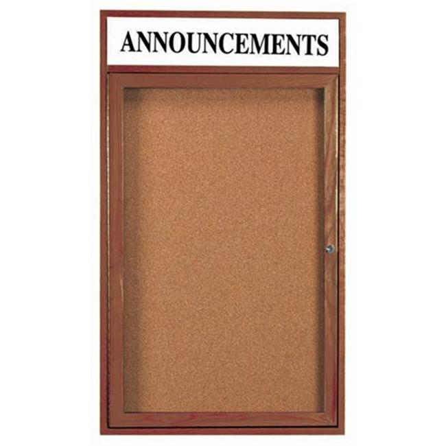 Aarco Products 1-Door Enclosed Bulletin Board with Header