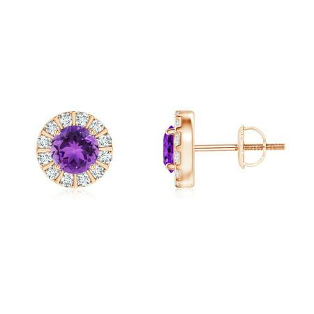 February Birthstone Earrings 4mm Amethyst Stud With Bar Set Diamond Halo In